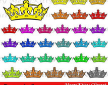 Off Sale Crowns   Instant Download   Rainbow Crown Silhouettes Clipart
