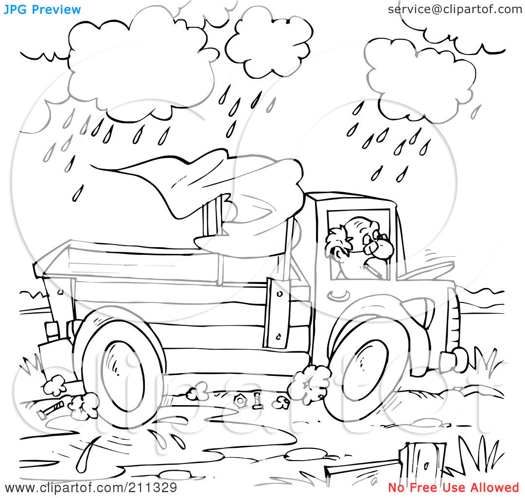 Rf  Clipart Illustration Of A Coloring Page Outline Of A Man Driving