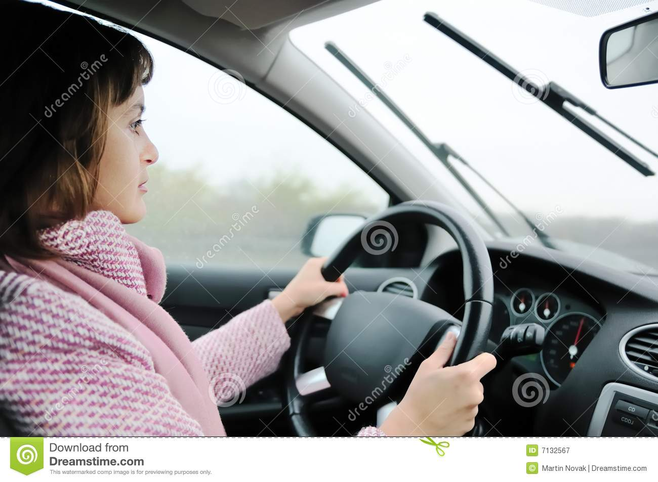 Woman Driving Car In Rain Royalty Free Stock Photography   Image