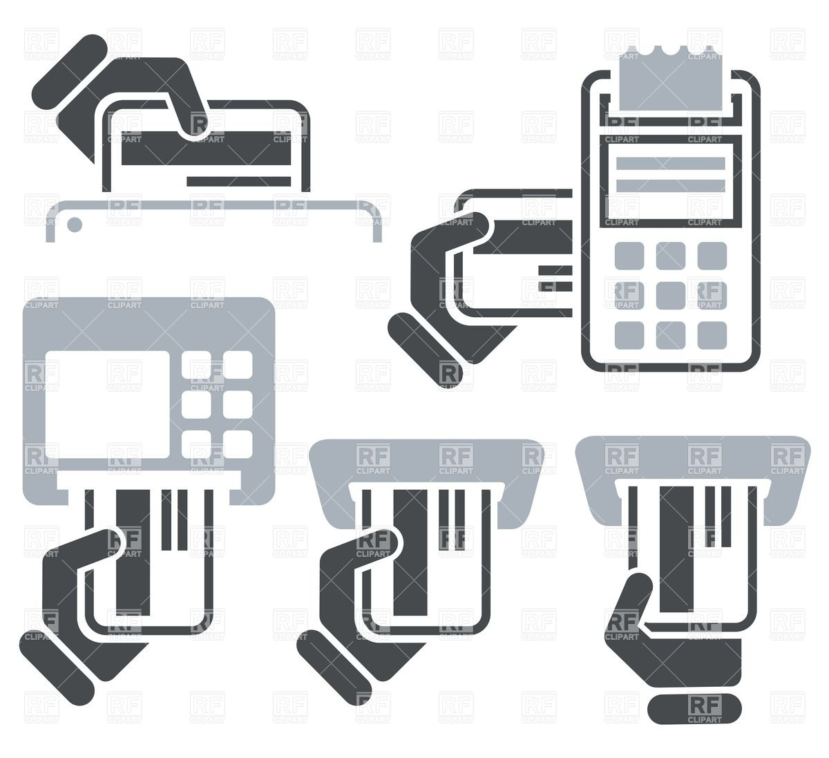 Atm Pos Terminal And Hand Credit Card Icons Download Royalty Free