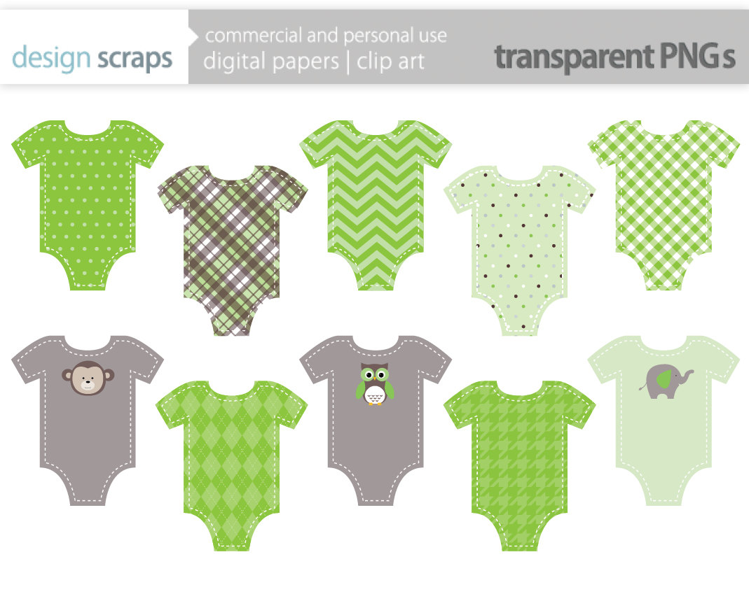 Baby Clothes Clip Art Graphics Green T Shirt By Designscraps