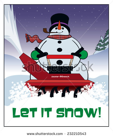 Blowing Snow   A Snowman Cuts A Path With A Snow Blower   Stock Vector