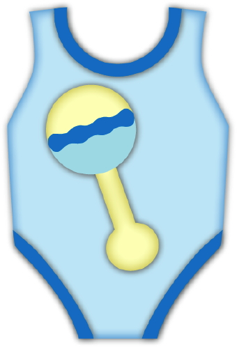 Clip Art Of A Blue Baby Boy Onesie With A Picture Of A Rattle On The