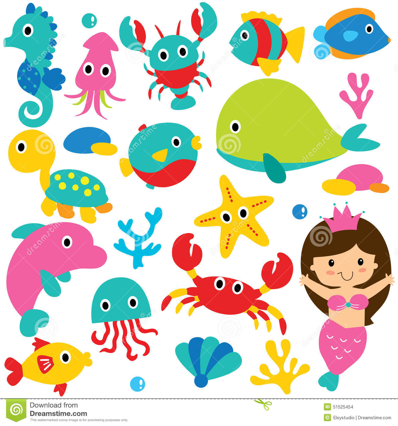 Cute Sea Animals Clip Art Set Stock Photo   Image  51525454