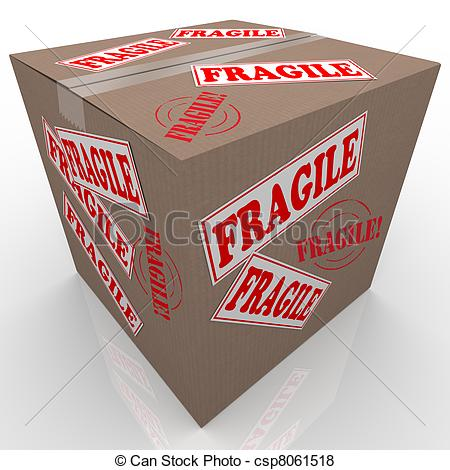Illustration   Fragile Cardboard Box Shipment Package Handle With Care