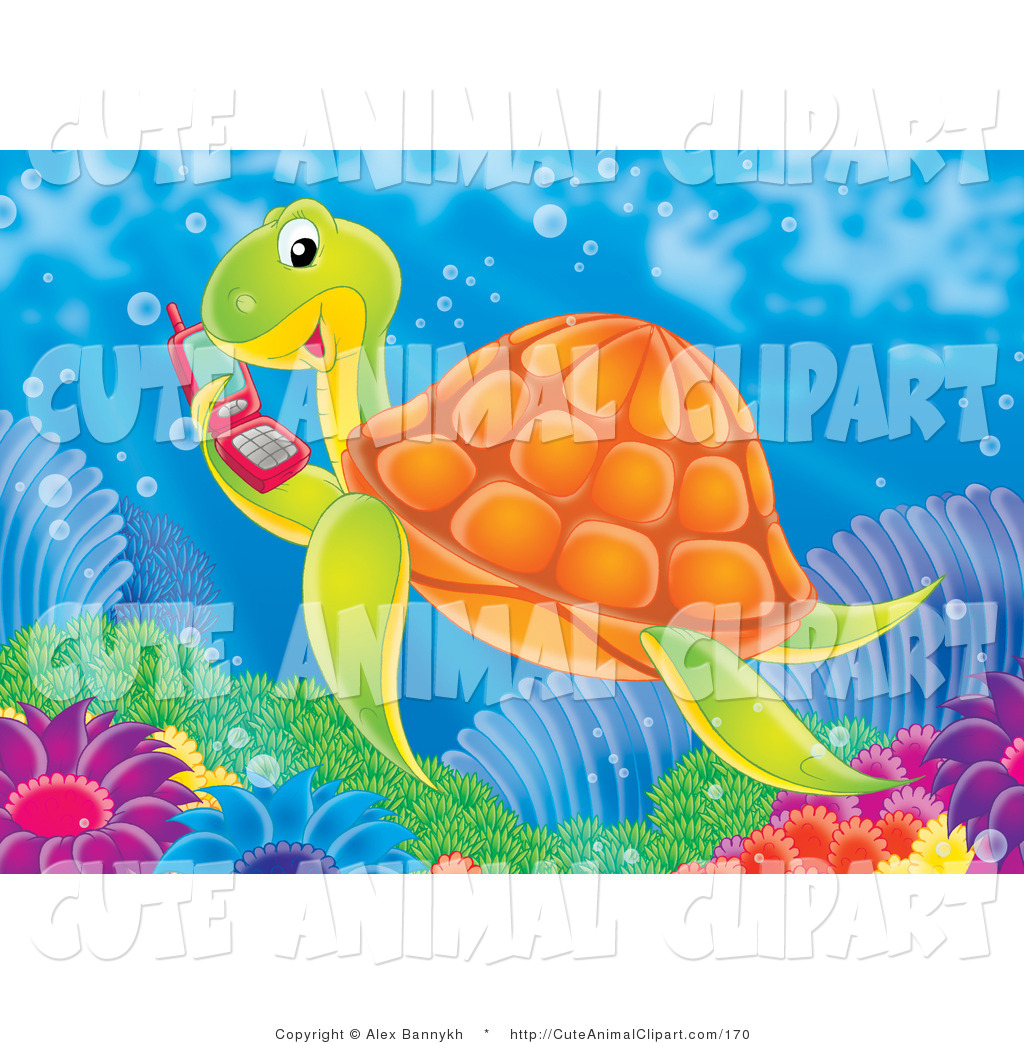 Red Cell Phone Cute Tortoise Two Sea Turtles Starfish And Octopus Cute