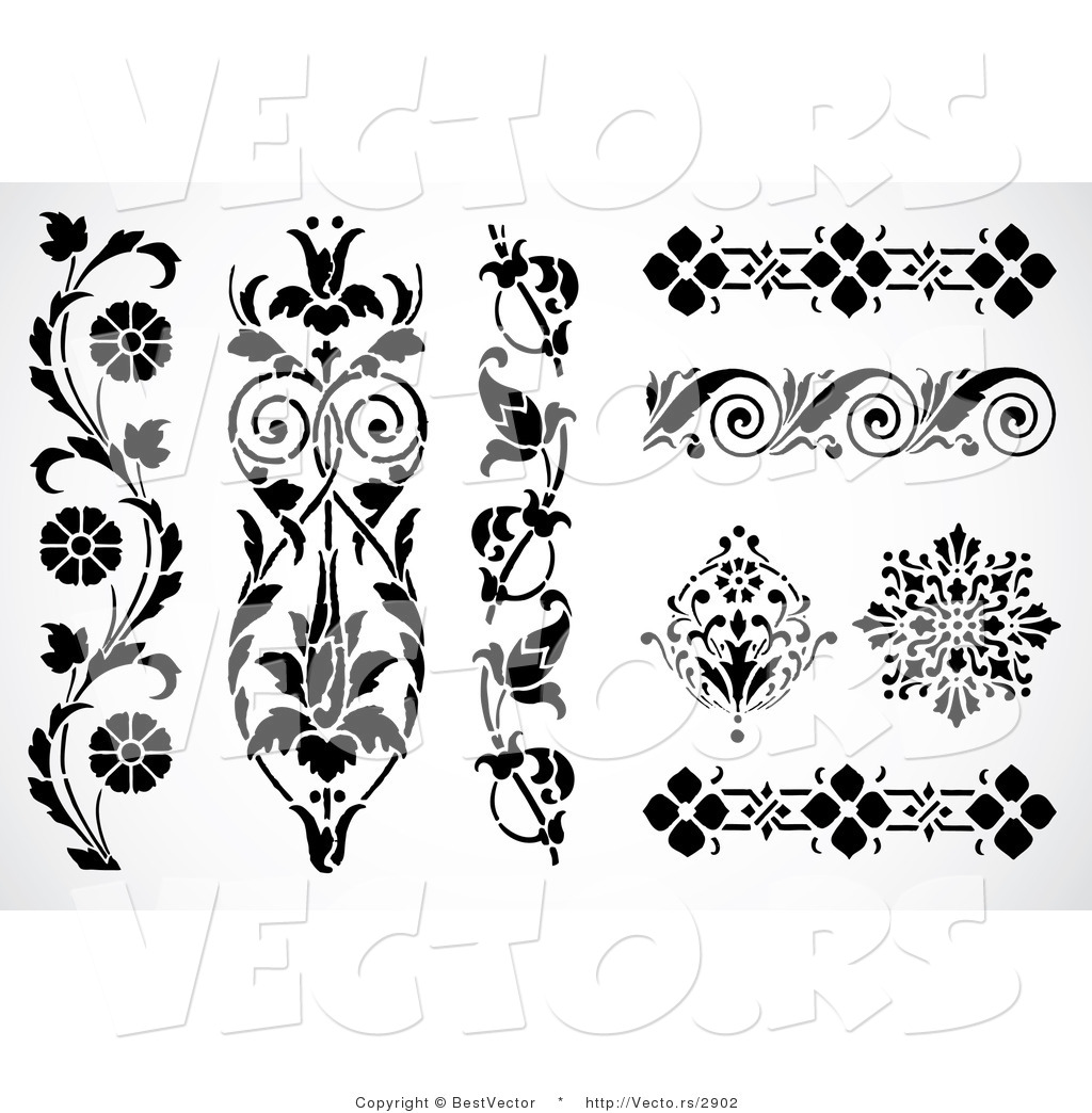 Decorative Black Flower Border Stock Image: Flower Edge Clipart