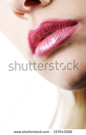Up Of The Mouth And Slightly Parted Sexy Kissable Red Lips Of A