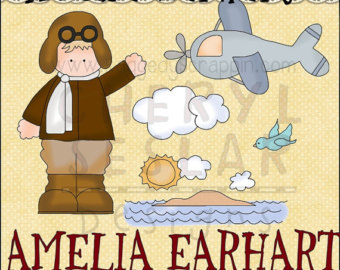 Amelia Earhart Digital Clipart   Cl Ip Art For Scrapbooking Party