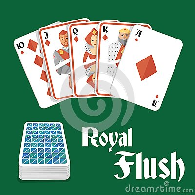 Casino Poker Gambling Diamond Royal Flush Hand And Card Pile