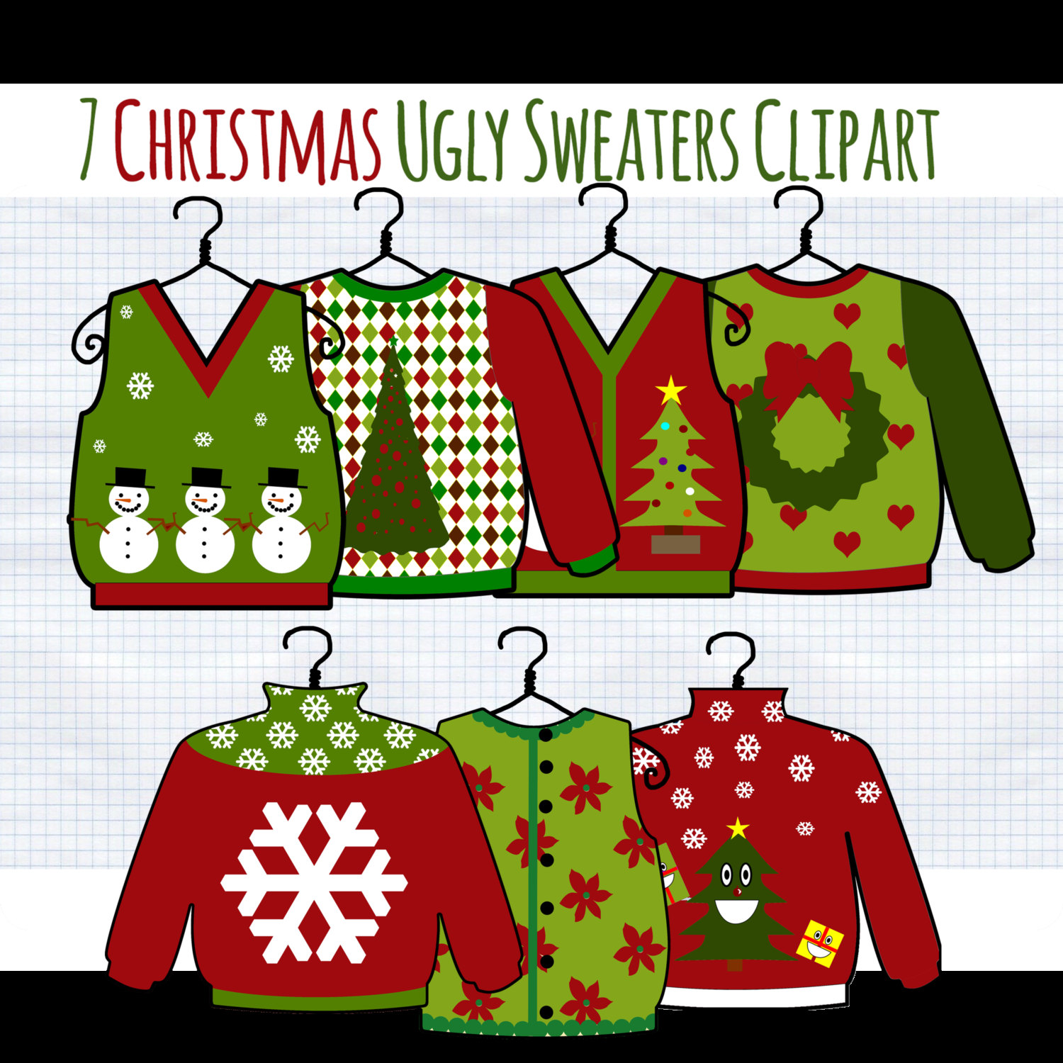 Christmas Clip Art Ugly Christmas Sweater Clipart By Digibonbons