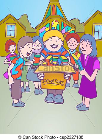 Church Donation Cartoon Character Kids Collecting Goods In A Box