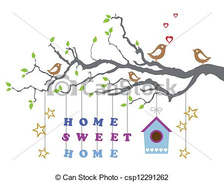 Clip Art Vector Of Home Sweet Home New House Card   Home Sweet Home