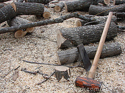 Firewood And Hand Splitting Tools Royalty Free Stock Photos   Image