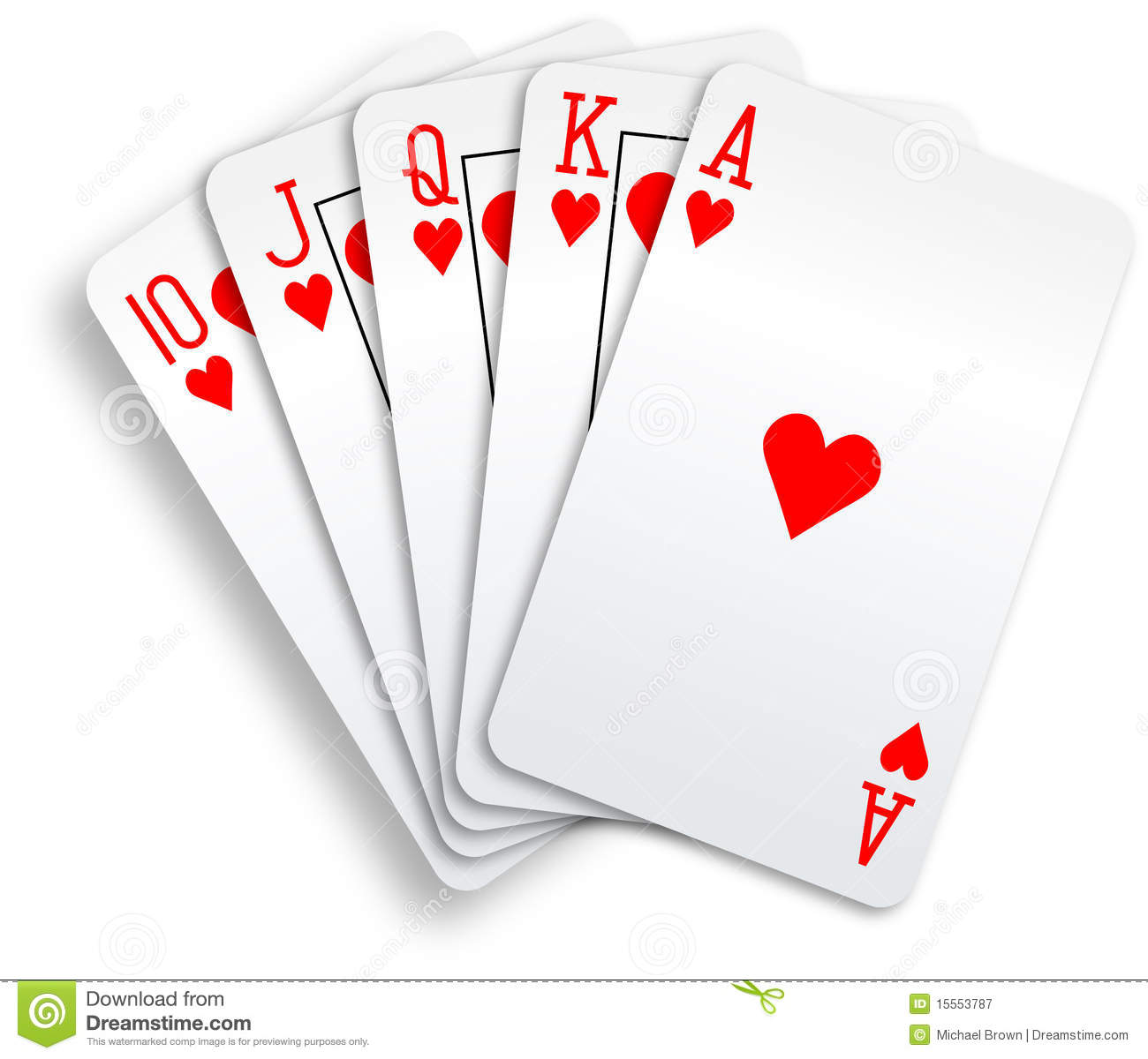 Hearts Royal Flush Playing Cards Poker Hand Royalty Free Stock
