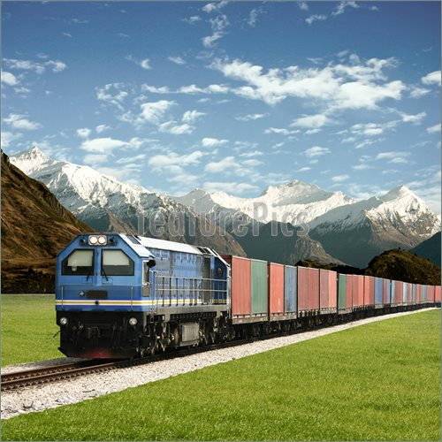 Photo Of Freight Train    Freight Train In A Mountain Landscape