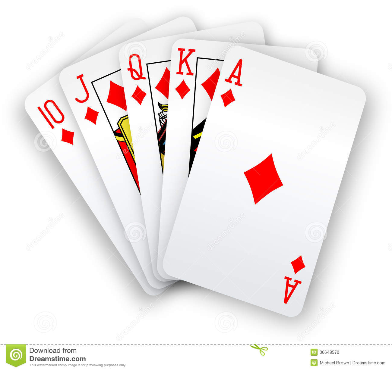 Poker Cards Straight Flush Diamonds Hand Stock Photo   Image  36648570