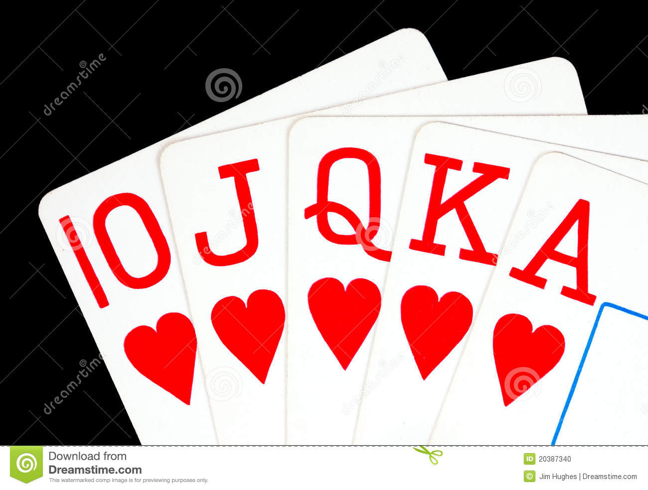 Royal Flush Poker Hand   10 Jack Queen King Ace Of Hearts