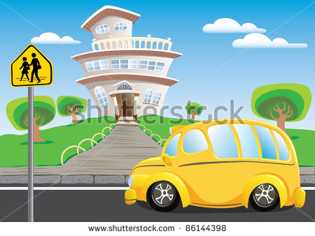 School Bus Is Waiting For The Student Leaving Stock Vector 86144398
