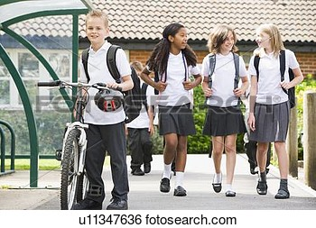 Stock Image   Students Leaving School One With A Bicycle  Fotosearch