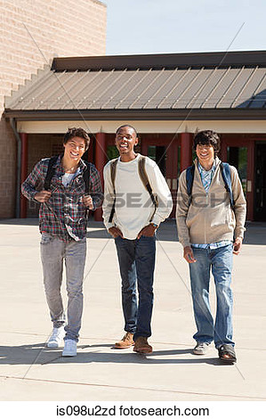 Stock Photography Of High School Students Leaving School Building