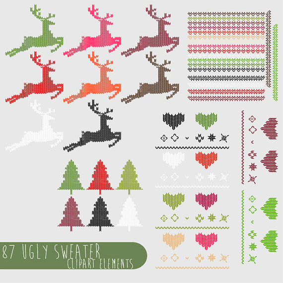 Ugly Christmas Sweater Clipart  Png Files Royalty Free Instant