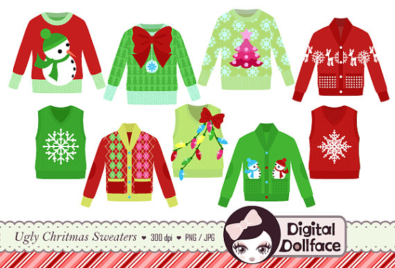Ugly Christmas Sweater Clipart Tacky Holiday Sweater Party Invite