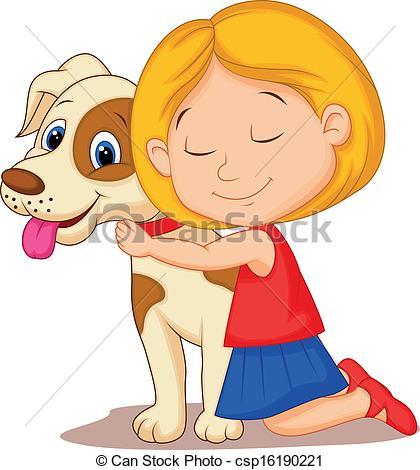 Vector Illustration Of Lovely Cartoon Little Girl Hugging Pet Dog With