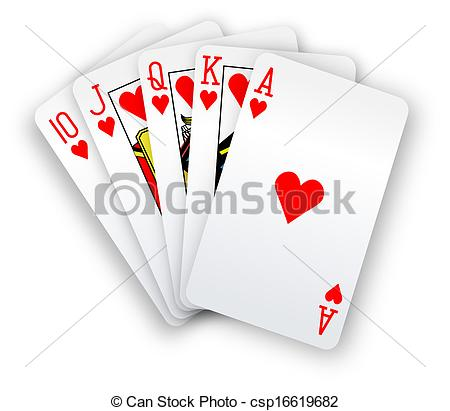Vector   Poker Cards Straight Flush Hearts Hand   Stock Illustration