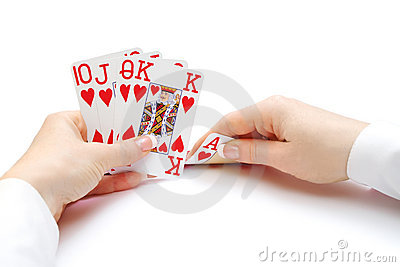 Woman Hands Holding Cards With Royal Flush Poker Combination