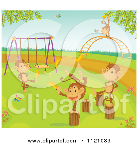 Cartoon Of Cute Monkeys On A Playground   Royalty Free Vector Clipart