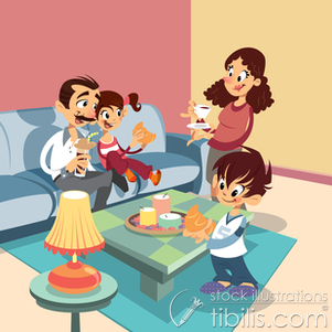 Cleaning Living Room Clipart Family At The Living Room