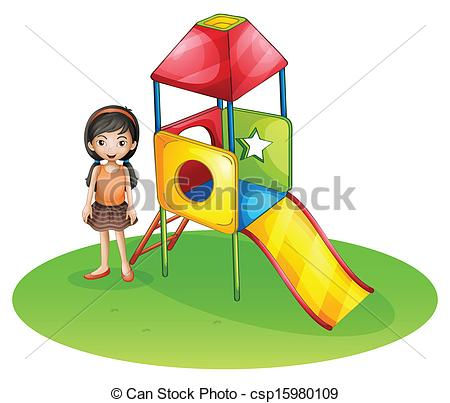Clipart Of A Cute Girl At The Playground   Illustration Of A Cute