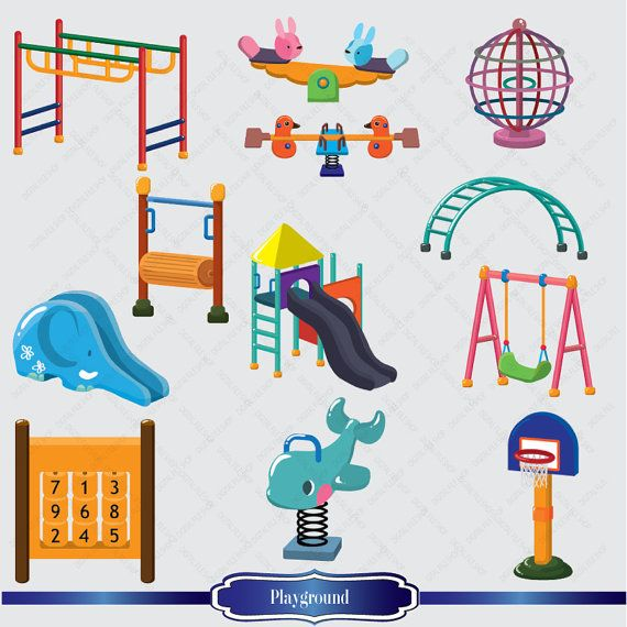 Cute Playground Clipart  Kids Illustration  Colorful Playground Clipa