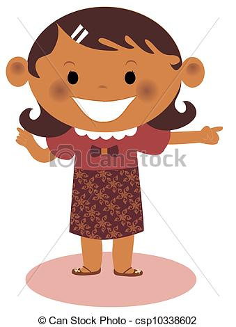 Illustration Of A Young Girl Pointing Csp10338602   Search Clipart