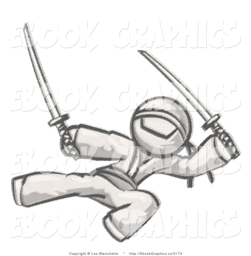Ninja Kick Clipart Mascot Male Ninja Kicking
