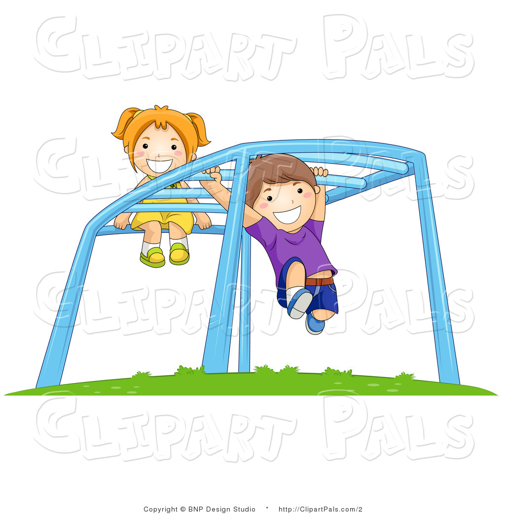 Pal Clipart Of Children Playing On Monkey Bars At A Playground