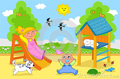 Playground  Cartoon Illustration Of A Young Girl And A Cute Toddler