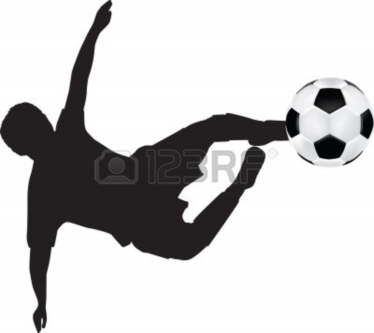 Silhouettes Girl Soccer Player Kicking Ball