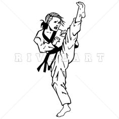 Sports Clipart Image Of Black White Martial Arts Girl Kicking Woman