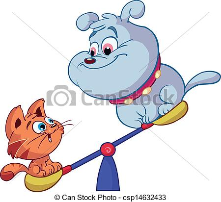 Vectors Of Cute Red Cat And Dog On Playground Csp14632433   Search