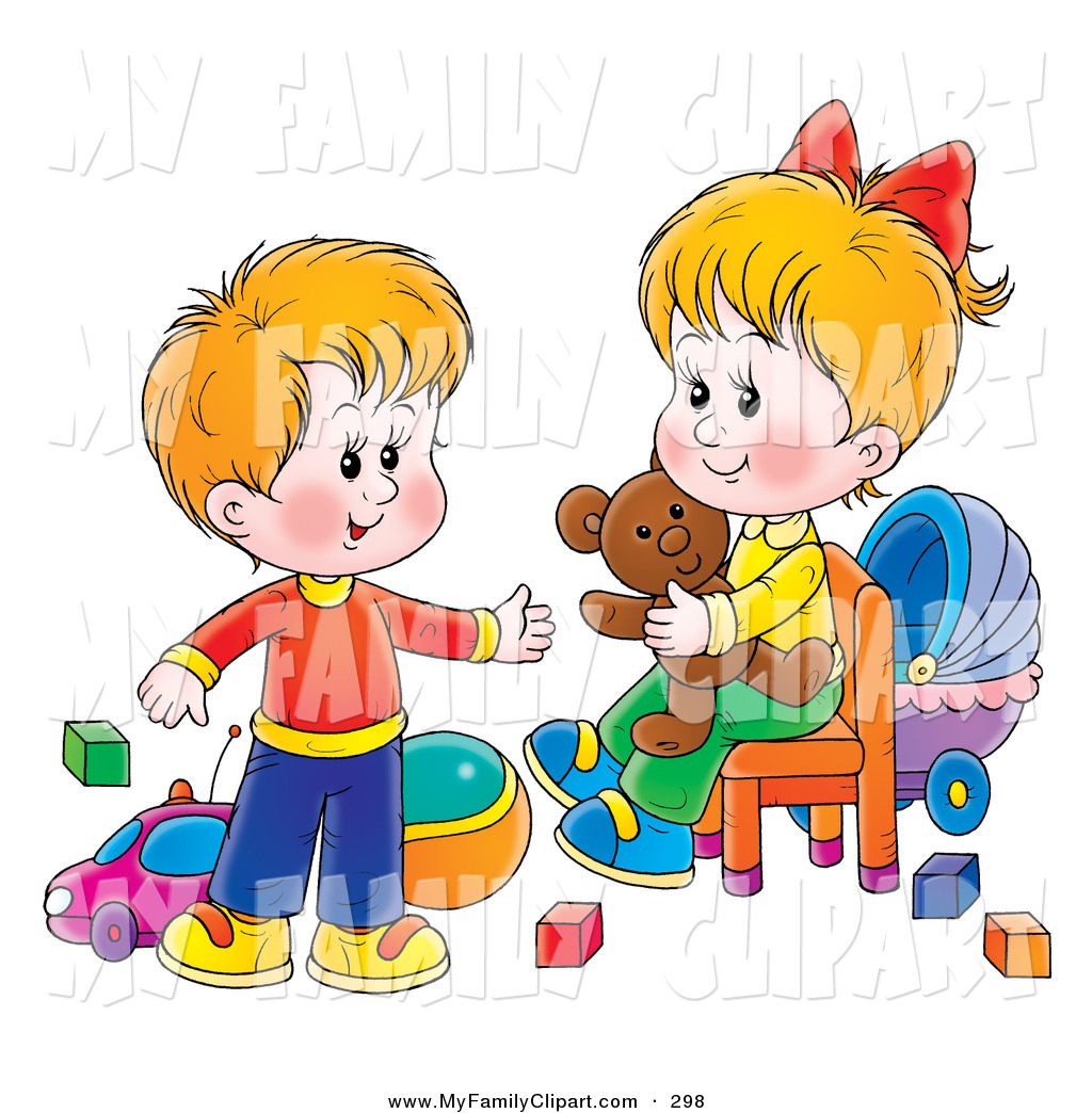 Clip Art Of A Happy Little Brother And Sister In A Toy Room Playing
