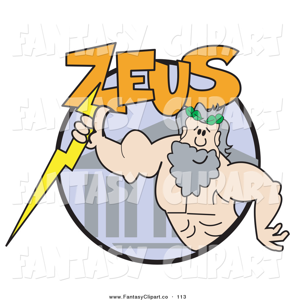 Clip Art Of A Strong Male Greek Good Zeus With A Lightning Bolt By