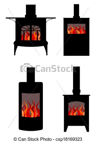 Clip Art Of Wood Burning Stoves   Illustration Of Four Styles Of Wood