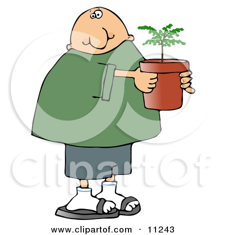 Clipart Woman Holding A Potted Flower And Watering Can   Royalty Free