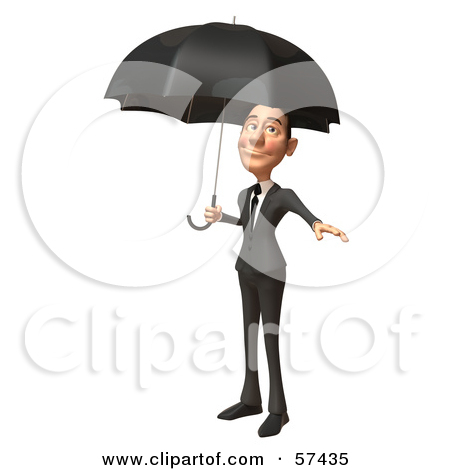 Corporate Businessman Character Standing Under An Umbrella Version 2