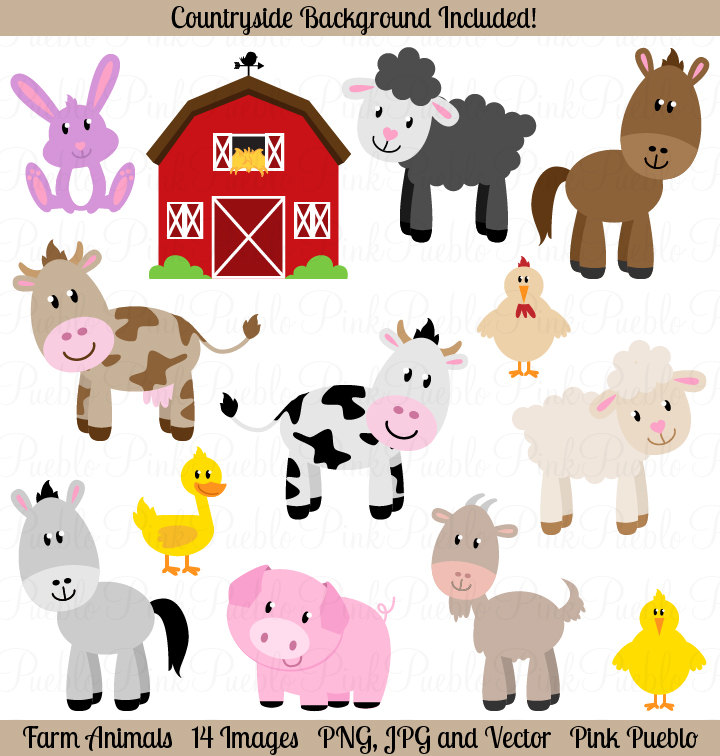 Farm Animals Clipart Clip Art Barnyard Animals By Pinkpueblo