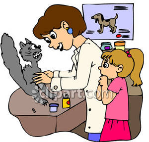 Girl And Her Cat At The Vet S Office   Royalty Free Clipart Picture