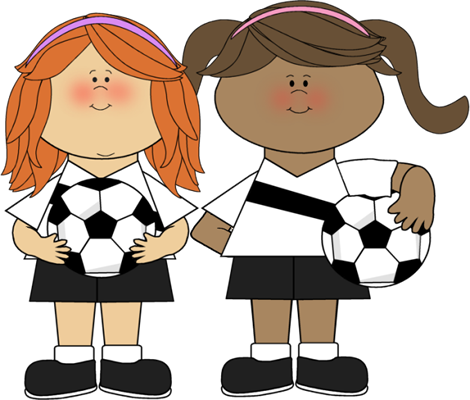 Girls Soccer Clip Art Image   Two Girls Soccer Players Holding Soccer