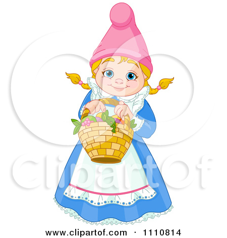 Happy Blond Garden Gnome Woman Holding A Basket By Pushkin